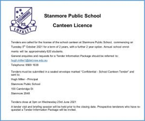 Stanmore PS Canteen Tender Advertisement